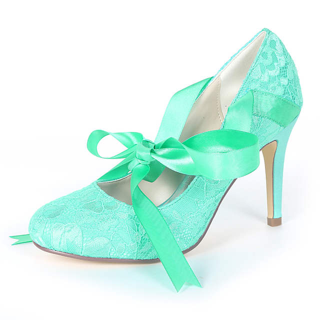 8bf069f29c US $40.05 10% OFF|Creativesugar sweet ribbon strap lace up closed toe high  heels bridal wedding party pumps prom lace heels lavender mint green-in ...