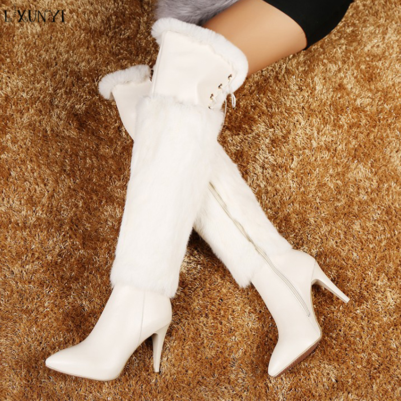 LXUNYI Sexy Cow Leather Over The Knee Boots Women Stiletto Heel Thigh High Boots Fashion Botines Mujer White Party Dress Shoes spring autumn silk elastic over the knee boots women stiletto heel thigh high botas mujer candy color wedding party dress shoes