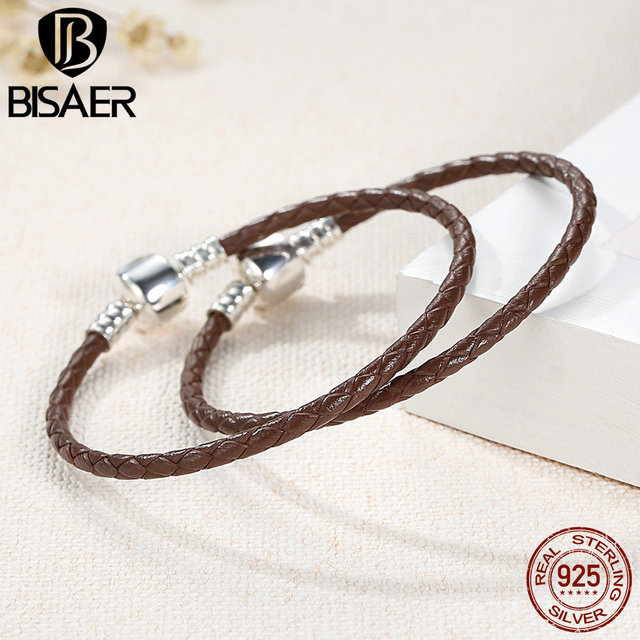 Authentic 925 Sterling Silver Brown Braided Leather Bracelet Women Rope Wrap Fine
