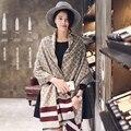 2016 de la moda de invierno bufanda de cachemira mujeres del Diseñador de la marca de lujo de gran tamaño de la tela escocesa bufandas señora caliente de lana poncho chal echarpe