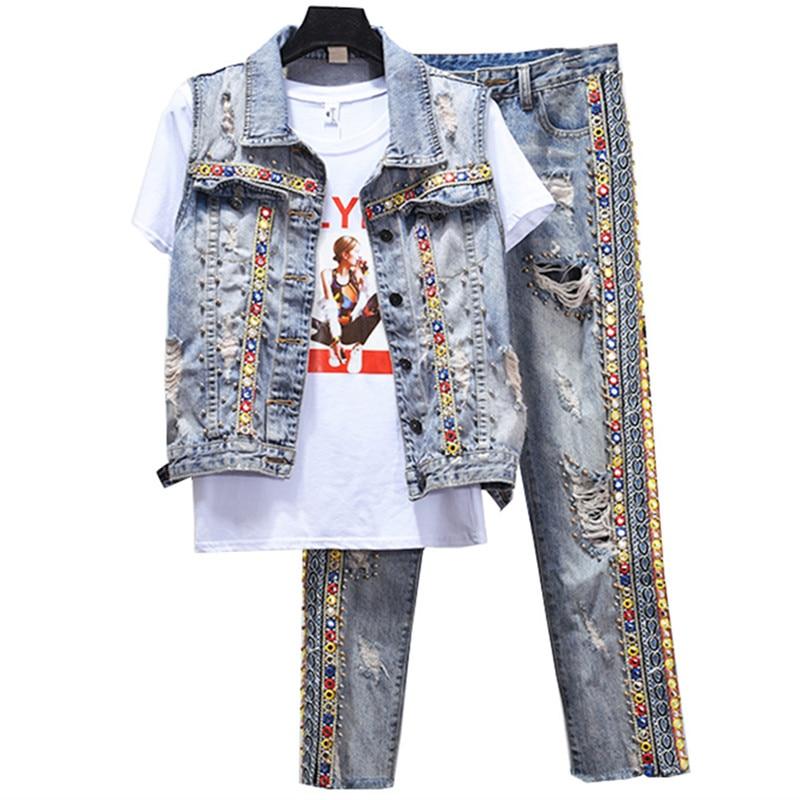 Women 2 Piece Sets Jacket Hole Ripped Jeans Suits Waistcoat Sets Denim Vest Coat Hole Jeans
