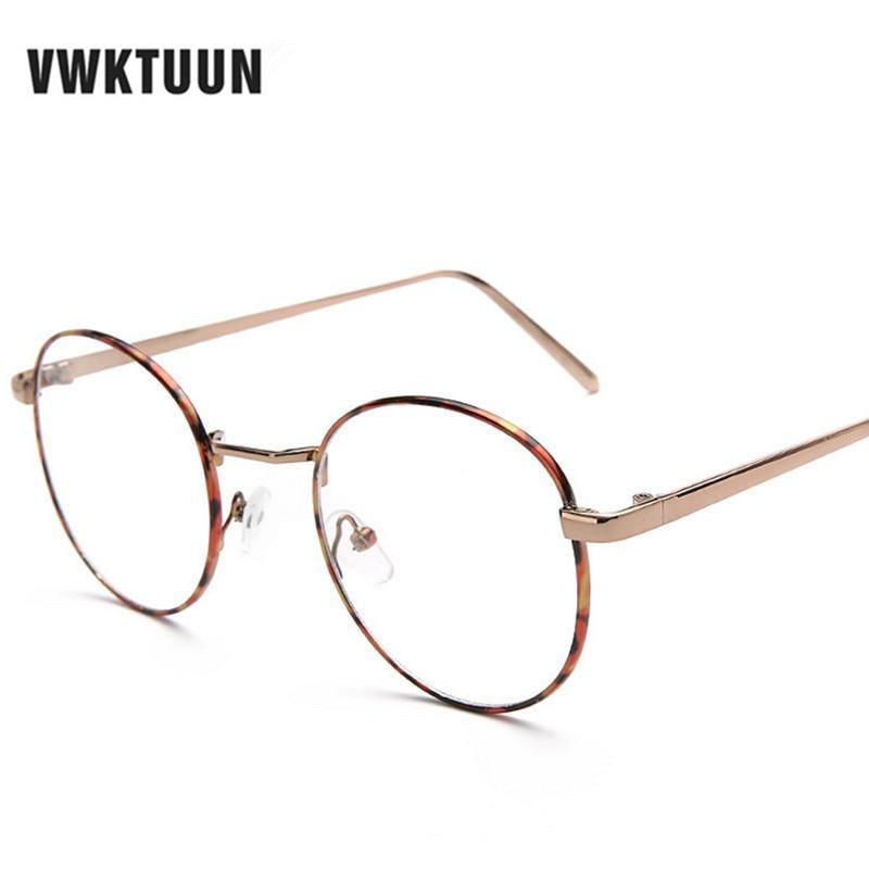 vwktuun vintage round eyeglasses frames women metal glasses frame men optical eyeglasses frame eyewear clear fake glasses