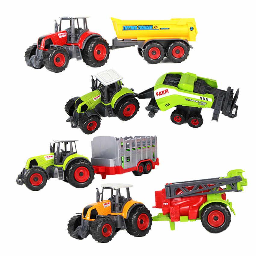 1:32 Plastik ABS Petani Mobil Model Mainan Pemanen Padi Traktor Pertanian Grain Loader Model Pendidikan Mainan untuk Anak-anak