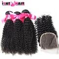 Перуанские Странный Вьющиеся Волосы С Закрытием Человеческих Волос Ткачество 3 Пучки С Закрытием Перуанский Afro Kinky Вьющиеся Волосы на продажу