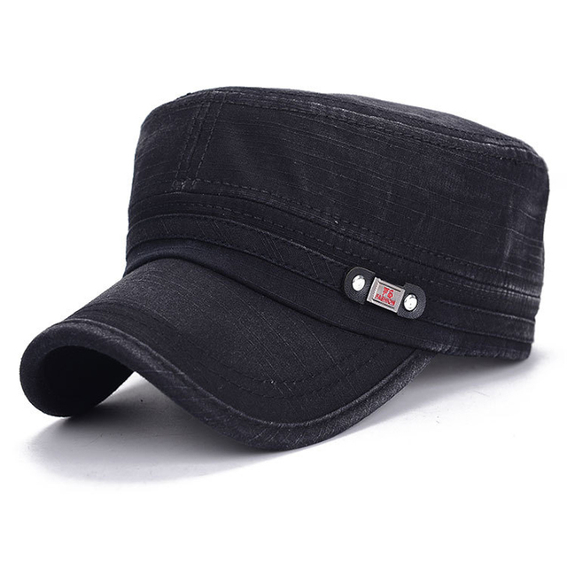 b5b41b9d82a Men Washed Cotton Military Hat Male Adjustable Strap Army Flat Top Cap  Twill Corps Kepi Casquette