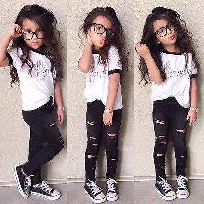 Girls Fashion Letter casual suit children clothing set Short Sleeve T Shirt+ Hole Pants 2015 summer new kids clothes set