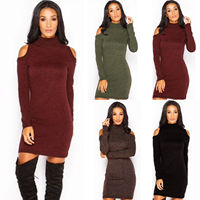 Free Shipping New Women Long Knit Sweater Sexy Bodycon Off Shouler Long Sleeve Party Pencil Clubwear