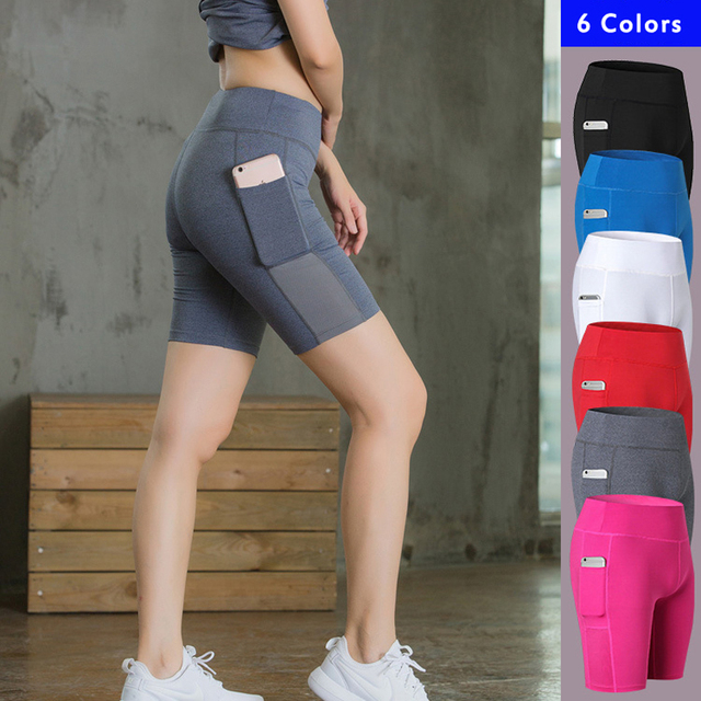 Women s Yoga Shorts Side Pockets Fitness Elastic Skinny Quick-drying  Perspiration Legging Short Femme Deporte Mujer Running Plus 7c8c90f1a7f