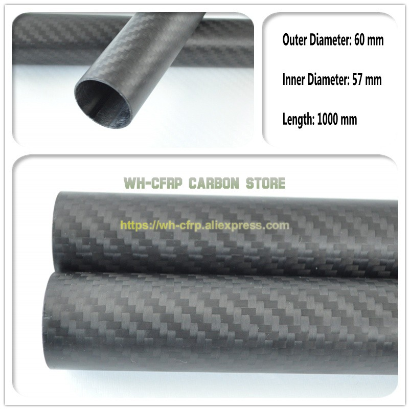 60mm OD x 57mm ID Carbon Fiber Tube 3k 1000MM Long (Roll Wrapped) carbon pipe , with 100% full carbon, Japan 3k improve material60mm OD x 57mm ID Carbon Fiber Tube 3k 1000MM Long (Roll Wrapped) carbon pipe , with 100% full carbon, Japan 3k improve material