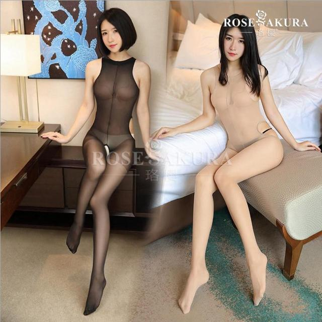 Crotchless sheer bodystocking Full Body vest pantyhose ultra-thin transparent  open crotch Strap Tights Stocking0703