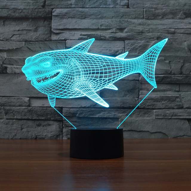 Willshi Desk Lamp Big Shark 3D Lamp Colorful Night Light Touch ...