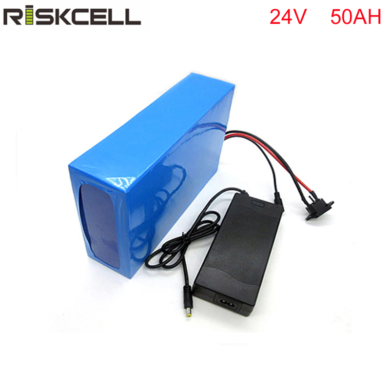 1000W 24V 50AH Li-ion Battery with PVC Case Charger and BMS Ebike Bike Electric Bicycle Battery For Electric Scooter 36v 8ah lithium ion battery 36v 8ah electric bike battery 36v 500w battery with pvc case 15a bms 42v charger free shipping