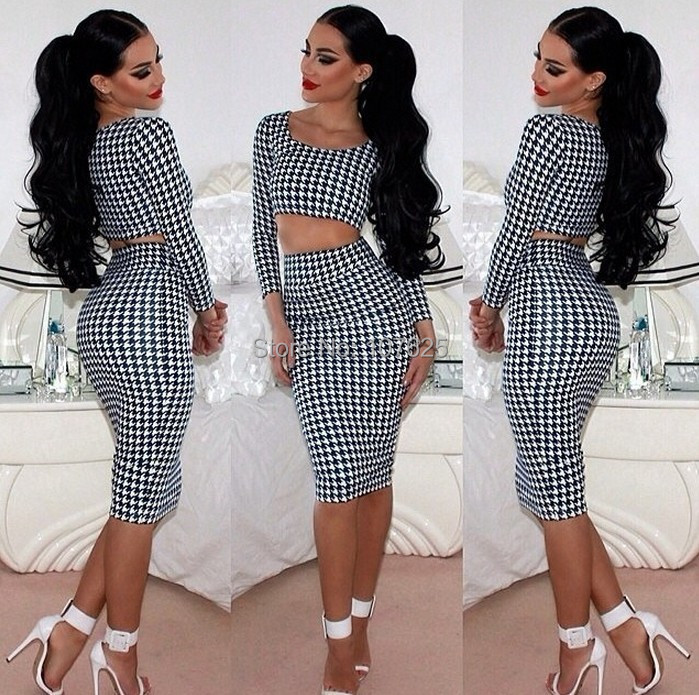 8275999ca524ef fashion sexy Women s two piece Crop Top and Skirt set Bodycon Houndstooth Leopard  Print clothes pencil skirt set Free shipping