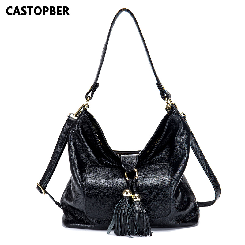 New Designer Fashion Women Leather Tassel Handbag Cow Genuine Leather Large Shoulder Bags Ladies High Quality Famous Brand Bag 2017 hot high quality brand baotou layer of cow leather bags the new ms tassel handbag is a 100% leather handbag