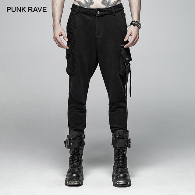 PUNK RAVE Men's Punk Rock Black Knit Trousers Gothic Military Casual Big Pocket Long Punk Cross Visual Kei Men Pants Streetwear 1