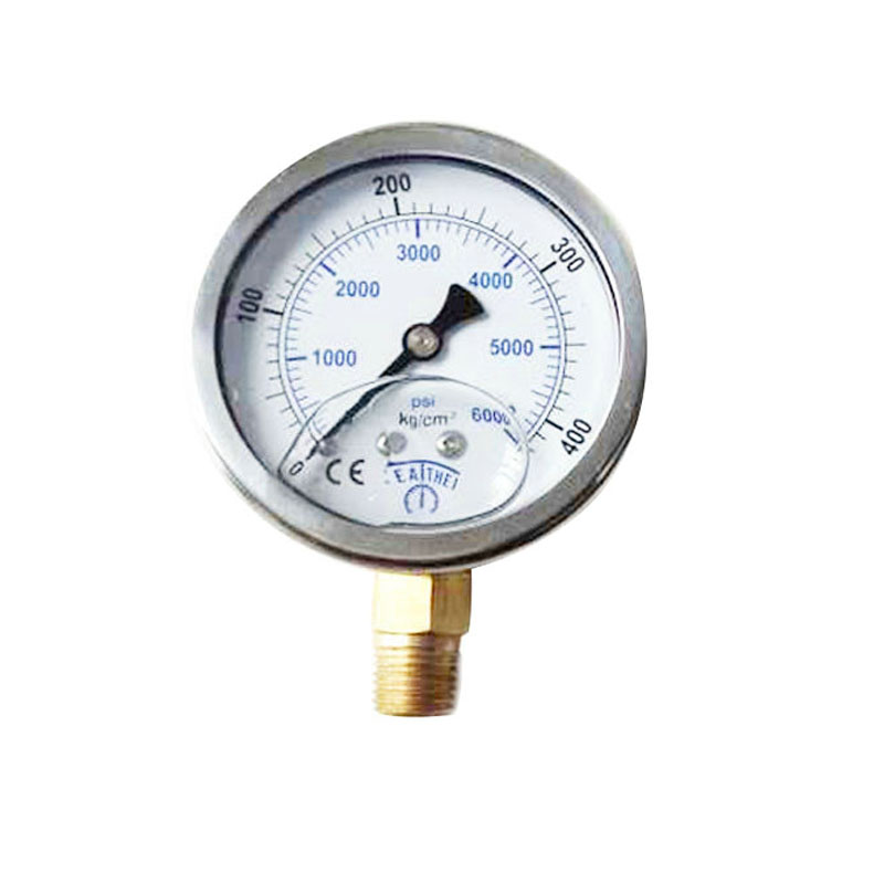 PCP Paintball High Pressure Gauge 60MM Oil Filled Gauge 400Bar Stainless Steel 1/4 PT/ZG Connection