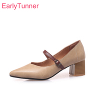 2019 Brand New Comfortable Brown Apricot Women Nude Pumps Vogue Med Heels Lady School Shoes EB98 Plus Big Small Size 11 32 43 46