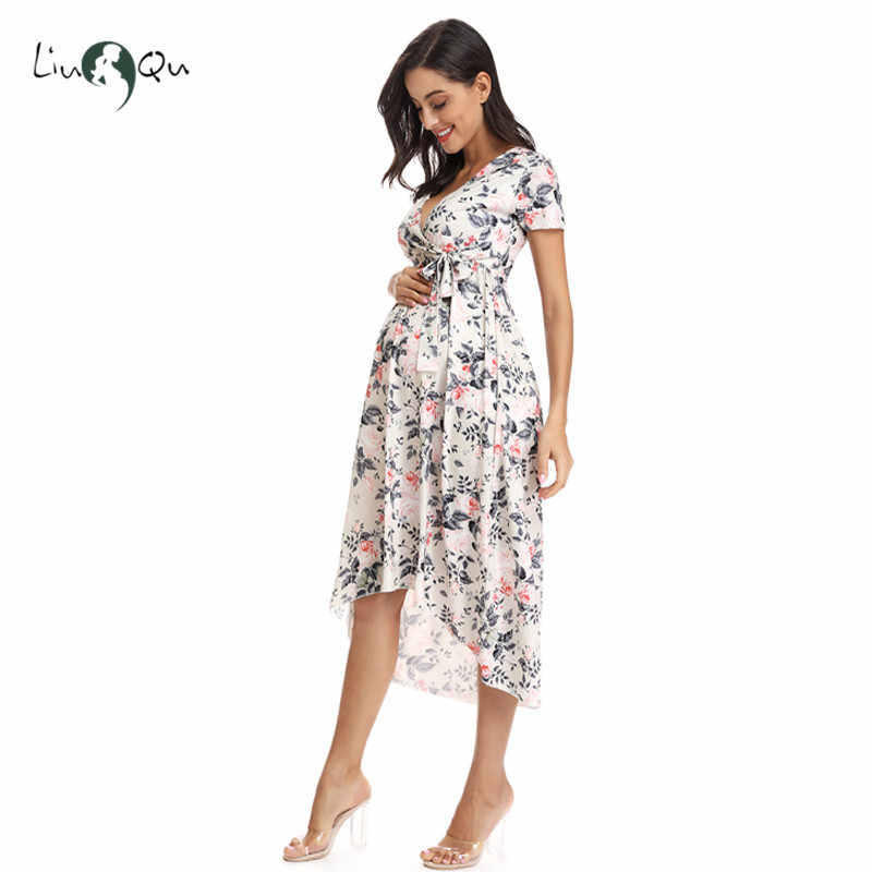 Women High-Low Surplice Wrap with Waist Belt Maternity Dress Adjustable V Neck Nursing Dress Breastfeeding Pregnant Clothes