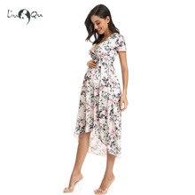 المرأة عالية منخفضة Surplice التفاف مع حزام خصر فستان حمل قابل للتعديل الخامس الرقبة فستان رضاعة الرضاعة الطبيعية ملابس الحوامل