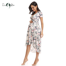 Women High Low Surplice Wrap with Waist Belt Maternity Dress Adjustable V Neck Nursing Dress Breastfeeding Pregnant Clothes