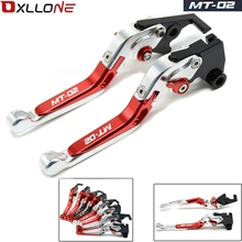 MOTORCYCLE ACCESSORIES CNC FOLDING EXTENDABLE BRAKE CLUTCH LEVERS FOR YAMAHA MT02 MT 02 2015-2017 2016 WITH LOGO MT-02