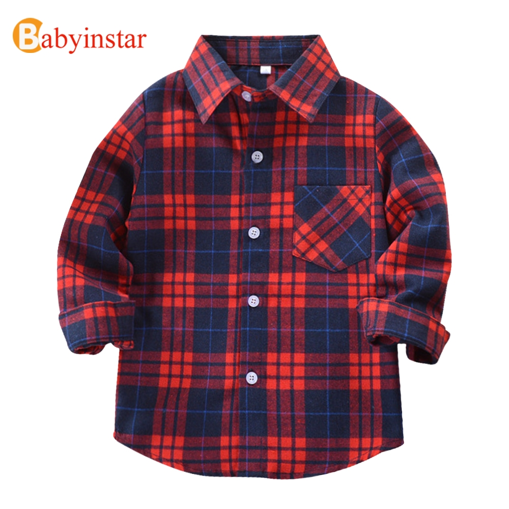 Babyinstar Casual Boys Shirts 2018 New Autmn Children's Tops with Pocket Outwear Children's Clothing Cotton Kids Plaid Shirts