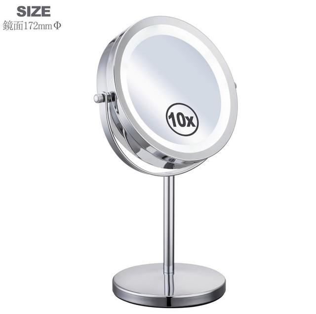 7 Inch10x Aumento Circular Led Maquillaje Luz Espejo Dual 2 De Forma