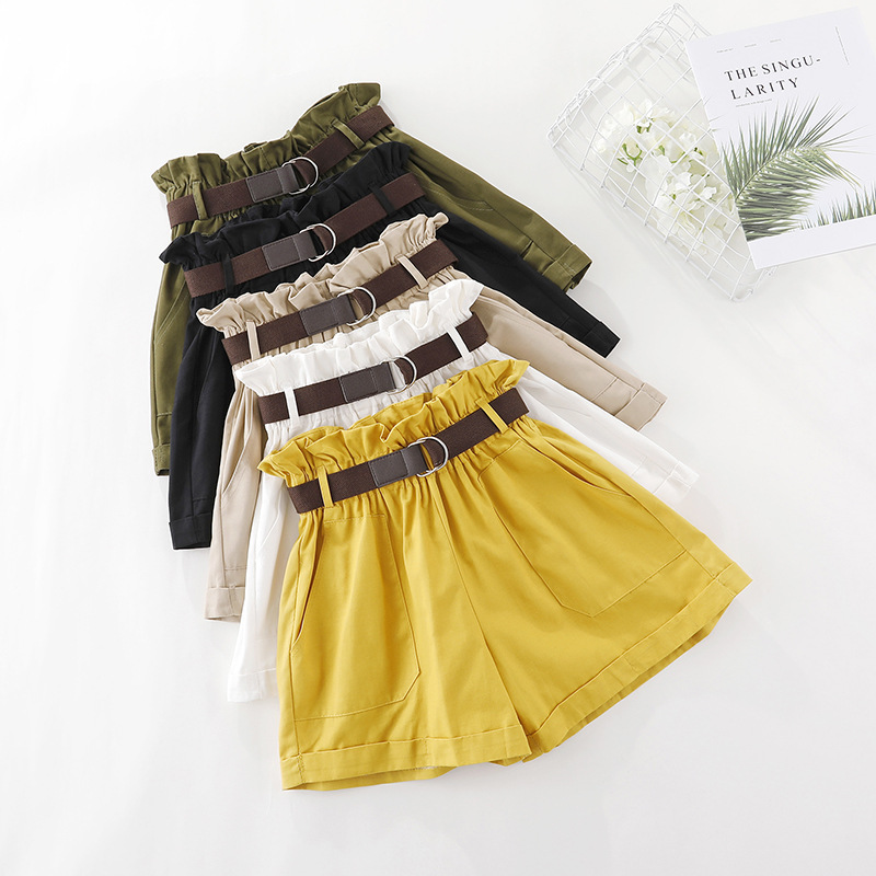 Korean High Waist Flower Bud Waist Short Femme With Belt Summer Black Loose Shorts Women's High  Waisted Leather Shorts