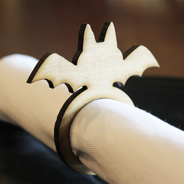 12pcs laser cut wooden bat wood napkin ring napkin holders rings halloween tea party table decoration
