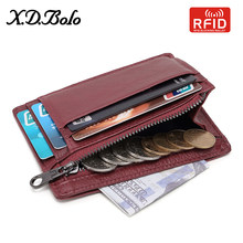 XDBOLO Women's Wallet Genuine Leather Wallets Coin Purse Women Vintage Slim Zipper Mini Wallets Card Holder Pouch for Card 2019(China)