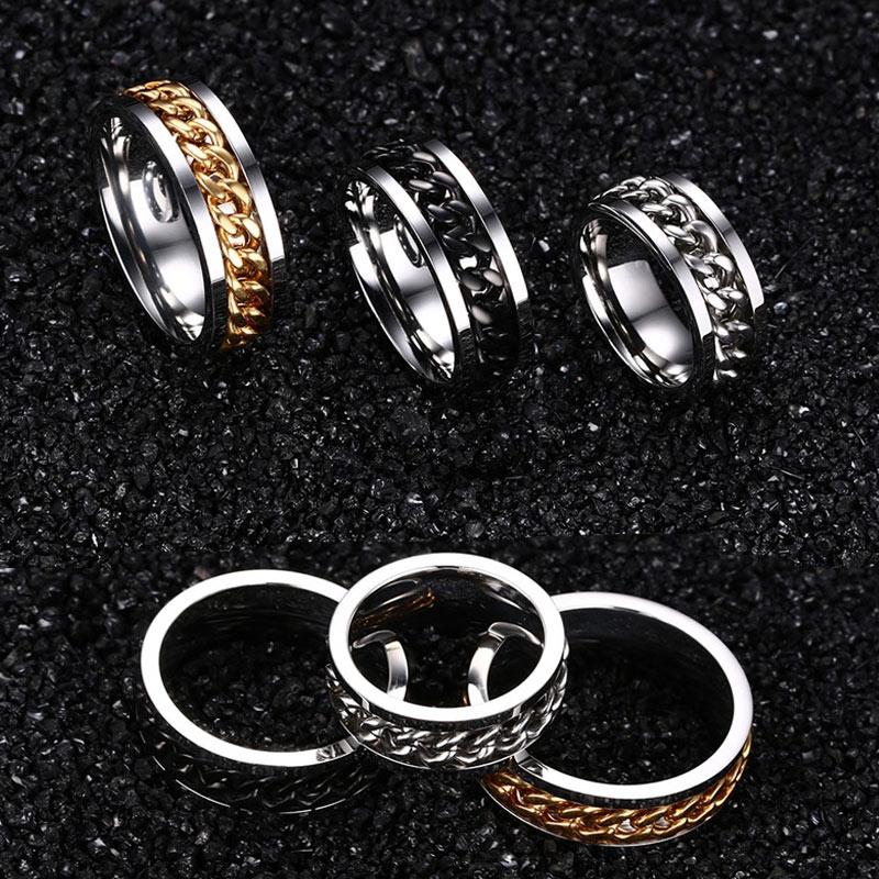 Vnox Spinner Black Chain Ring for Men Punk Titanium Steel Metal Finger Jewelry Male Alliance 3