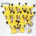 10pcs/lot Anime Cartoon Monsters Pikachu 11cm Plush Dolls with Chain Stuffed Soft Toys Kids Gift Pendants Ring AP0001