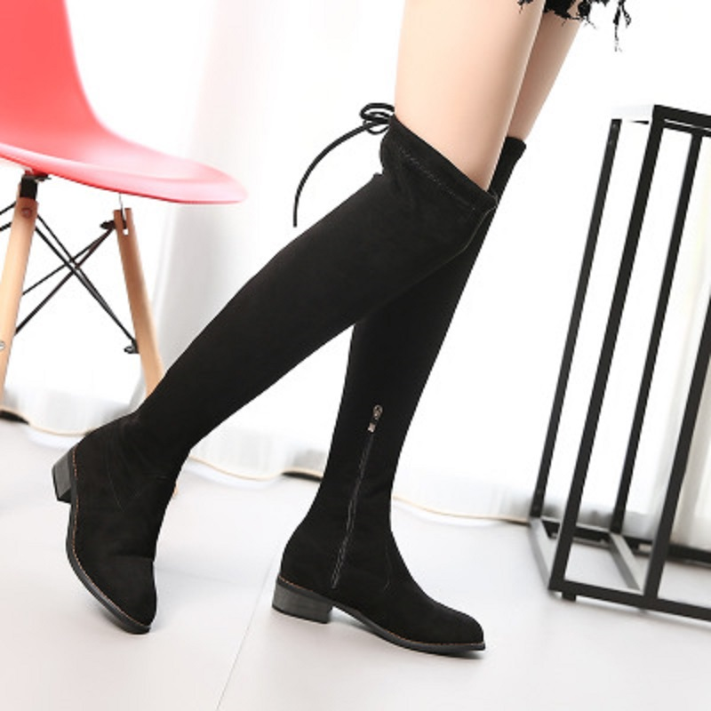 2018 new womens autumn and winter stretch knee boots with low round head boots slender legs boots wild tide.