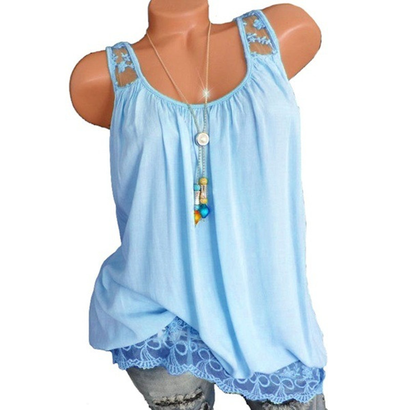 5XL Top Women Summer Sexy Lace Vest Sleeveless Casual Tank Blusas Top Mesh Patchwork Loose T Shirt Camisole 2019 Plus Size