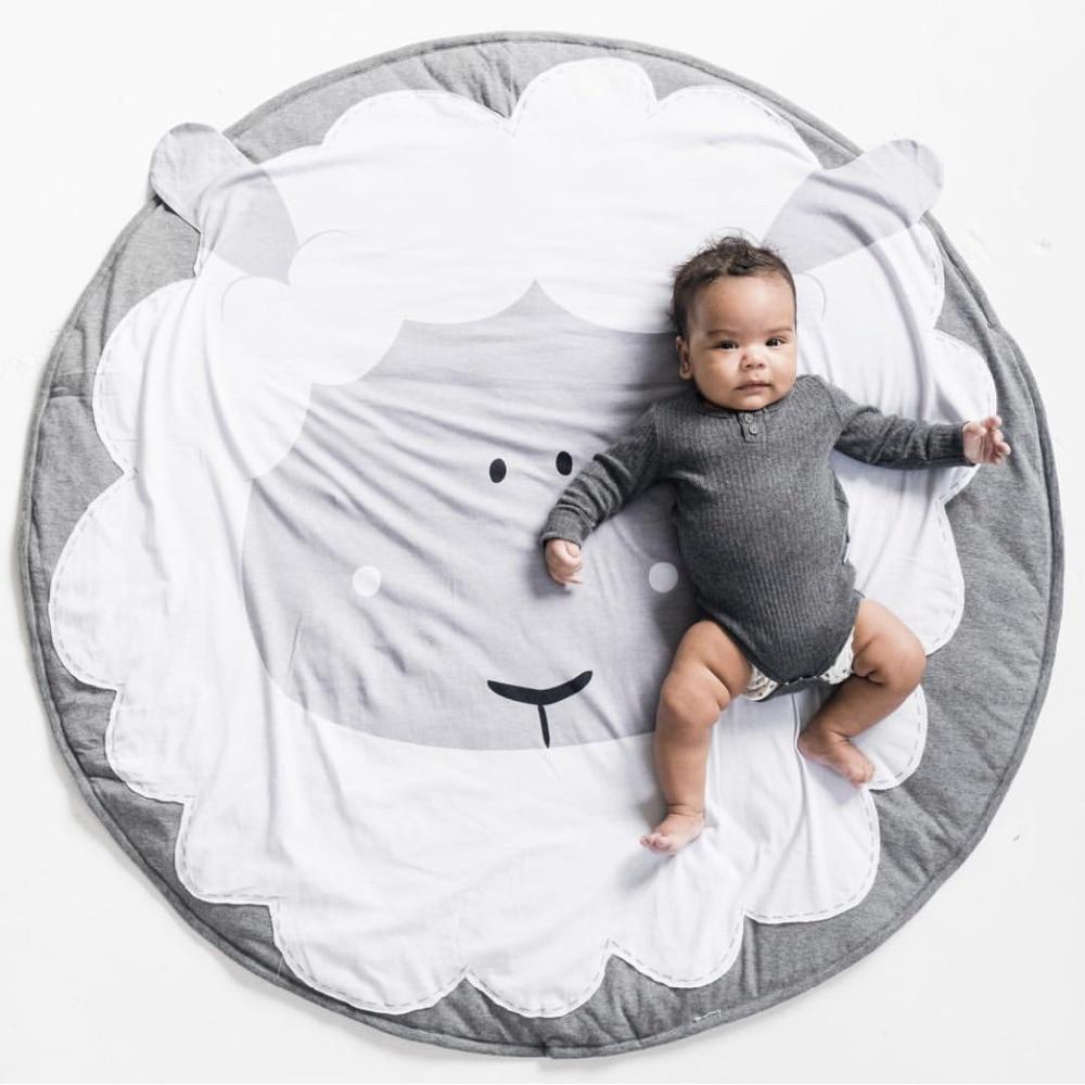 Dessin animé coton enfants tapis rampant mouton tapis de jeu tapis rond décorations de chambre d'enfants