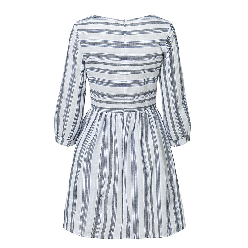Elagant Striped O-Neck Beach Mini Dress 7