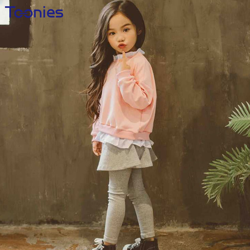 2018 Trend Girls Pants Suit Lovely Girl Suits New Design Ruffles Patchwork Kids Clothing Sets Long Sleeve Children Party Costume