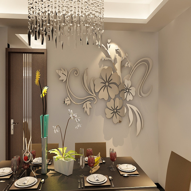 Flor plateada dorada acrílico 3D espejo etiqueta de la pared - Decoración del hogar