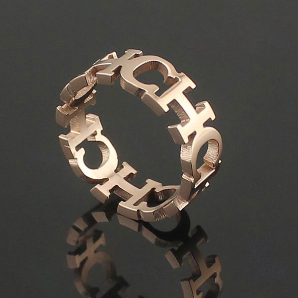Rose Gold Plated Channel Ch Letter Ring
