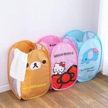 2x милый кот медведь складной грязная одежда ведро для белья корзина для хранения ткани хранения для детей игрушки чистящие средства