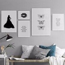 NUOMEGE Meisje vlinder Nordic Poster Canvas Schilderij Motievencitaat Wall Art Print Decoratieve Foto's Voor Woonkamer Decor