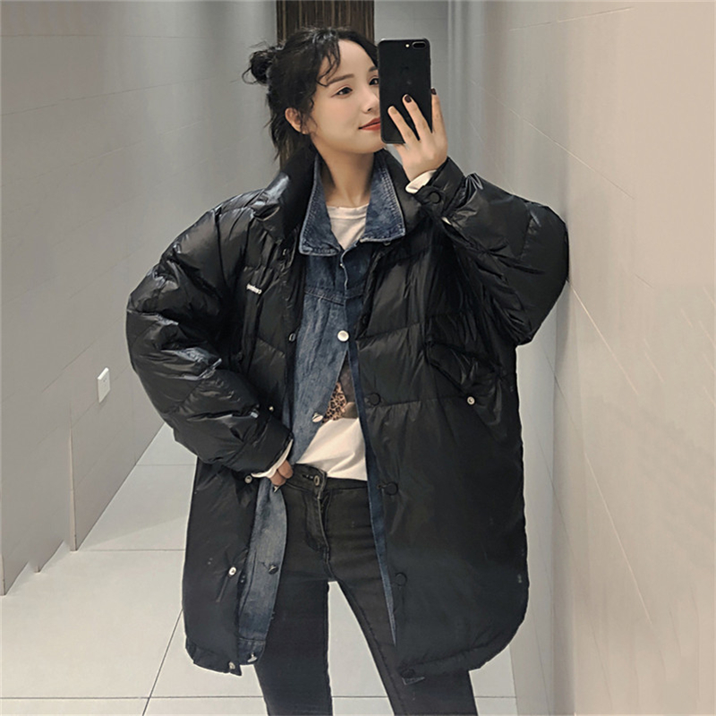 Fashion 2019 Winter New Korean Denim Stitching Long Duck   down   jacket Women Parka Loose student Thick Warm   Down     coat   Women jacket