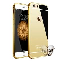 Зеркало Алюминиевый Корпус Для iPhone 6 6 S 4.7 дюймов Роскошный Металлический рама Сверхтонкий Акриловая Задняя Крышка Для iPhone 6 Plus 5.5 дюймовый