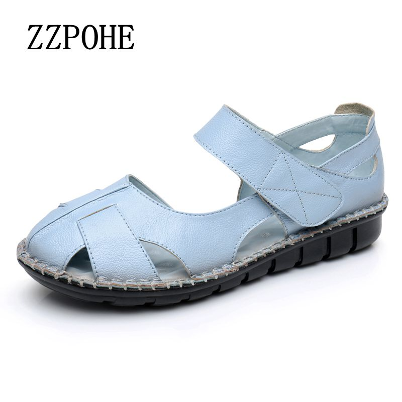 ZZPOHE Mother sandals middle-aged women summer new soft-bottomed fashion sandals casual comfortable non-slip ladies sandals size timetang summer new middle aged soft leather mother sandals soft bottom elderly large size flat woman non slip sandals c212