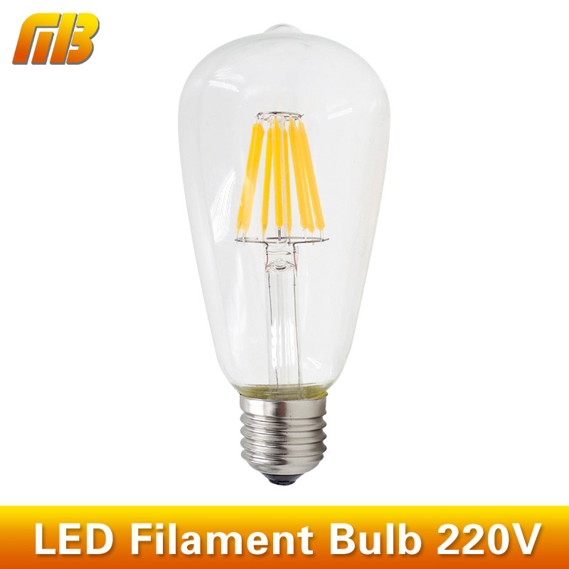 ST64 E27 220V Dimmable 4W 6W 8W 10W 12W Edison Bulb Smart IC Driver No Flicker Low Heat Replace Retro LED Filament Light Bulb