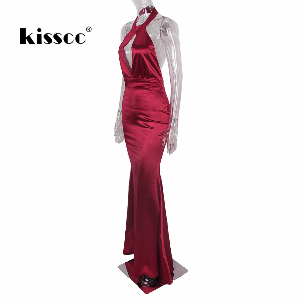 Sexy V Neck Halter Bodycon Maxi Dress Elegant Hollow Out Backless - Women's Clothing - Photo 5