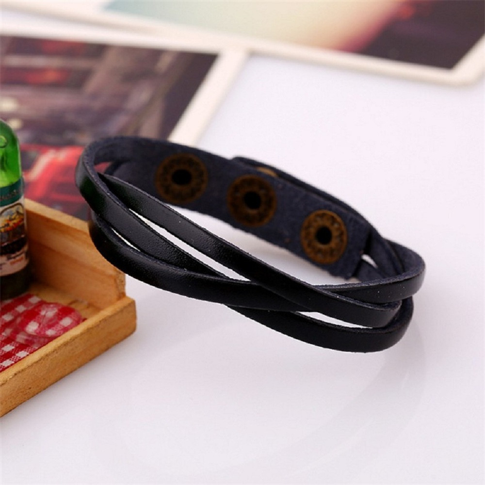 Leather Wrap Rope Wristband Bracelets 5