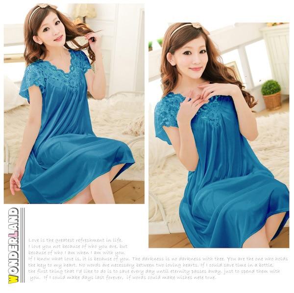 Free shipping women red lace sexy nightdress girls plus size Large size Sleepwear nightgown night dress skirt Y02-4 4