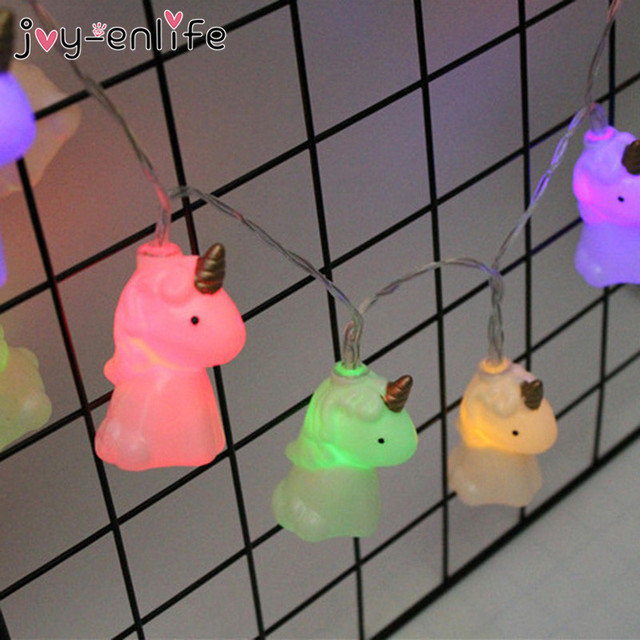 JOY-ENLIFE 1 Unidades 2 M Lindo Unicornio Cabeza de la Secuencia del LED Luz de La Noche del Bebé Ducha Fondo Decoración de Halloween Partido De Los Cabritos Decoración del partido