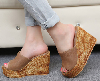 Plus Size 40-45 Beach Slippers Women's Platform Shoes 2018 Summer Sandals Open Toe Wedges Shoes Casual Small Yard 31 32